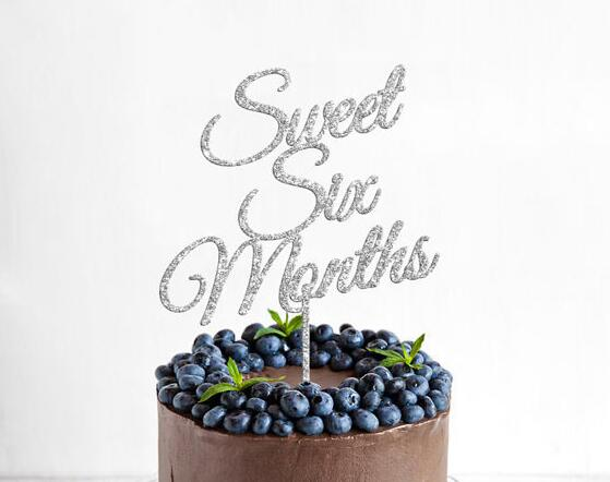 Glitter Gold Silver Cake Topper Sweet Six Months Cake Topper Acrylic Baby Birthday Cake Stand Party Supplies