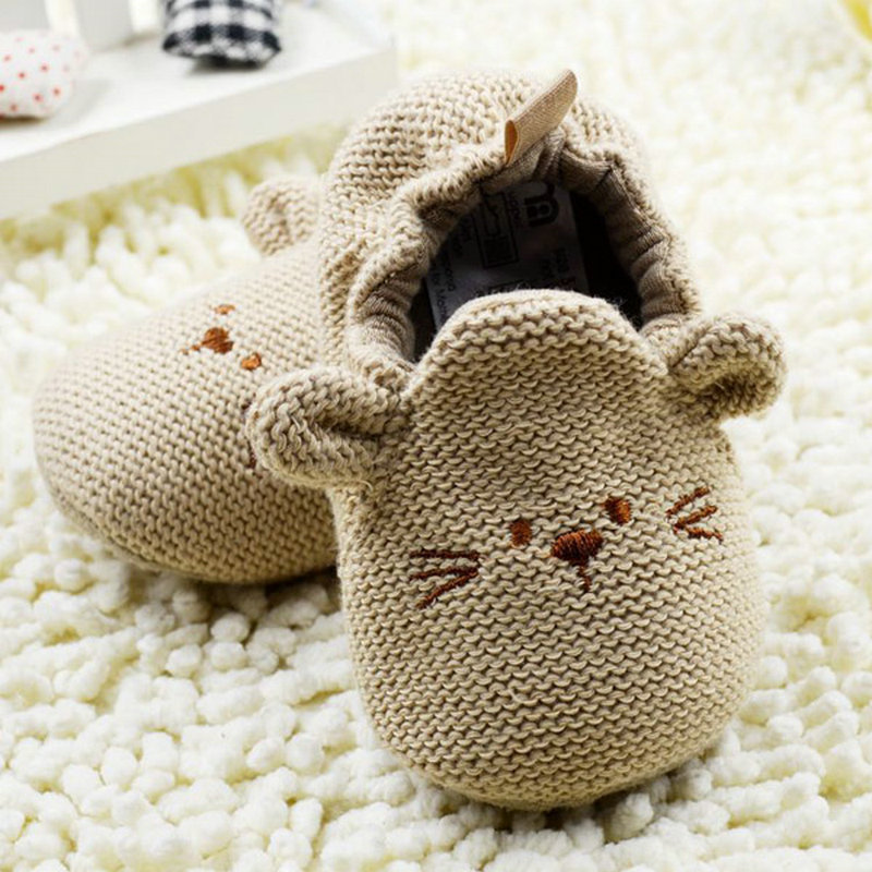 Winter Baby Kids Children Knit Cartoon Crib Shoes Elastic Mice Soft Walking Prewalker