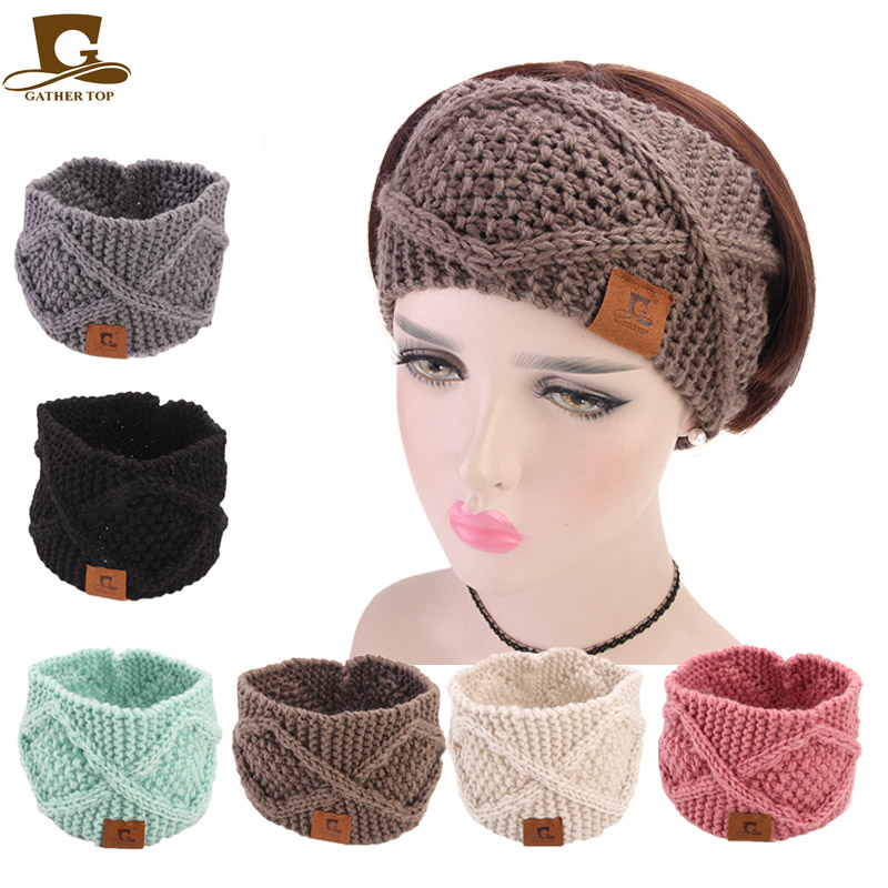 9c3e9b724e7 New gathertop labled Knit Elastic Headbands handmade Crochet Turban Hair  Accessories Winter Women Stretch Wide Head