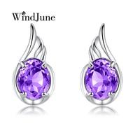 WindJune Amethyst Stud Earrings 2017 New Authentic 925 Sterling Silver Jewelry Earrings For Women