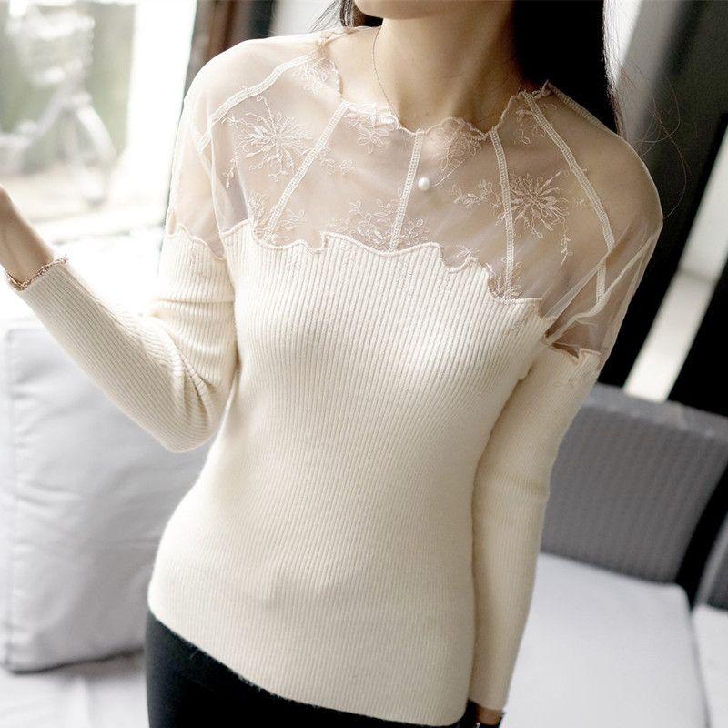Nueva alta calidad  mujeres de bajos o-cuello de encaje transparente camisa de punto básico delgado suéter largo de la manga superior femenina