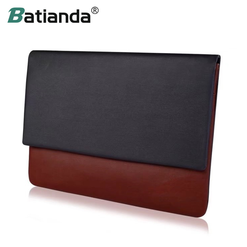 Batianda Soft PU Leather Laptop Bag Sleeve for 12 13 inch MacBook Air Pro Retina/HP/Asus/Xiaomi and other 13.3 Notebook