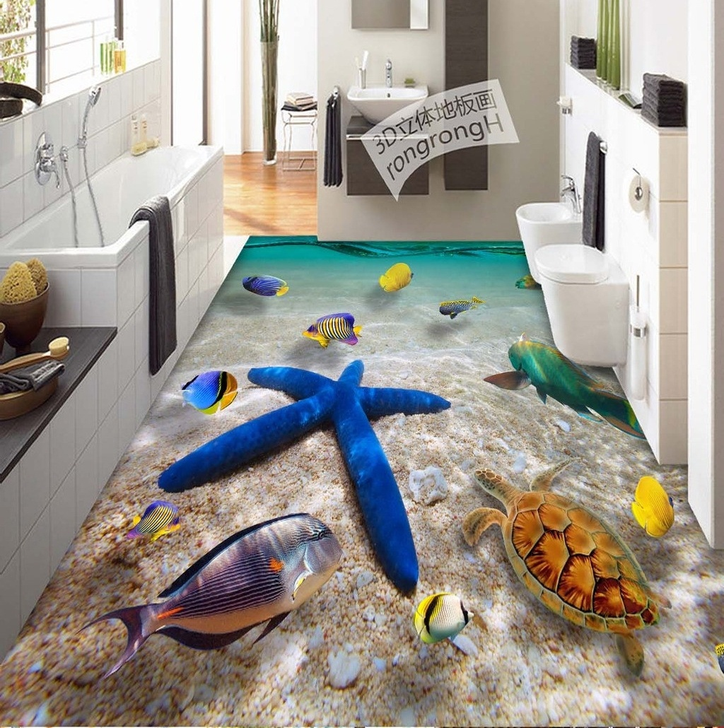 3d pvc flooring custom wall sticker the sea star 3d for Bathroom floor mural sky