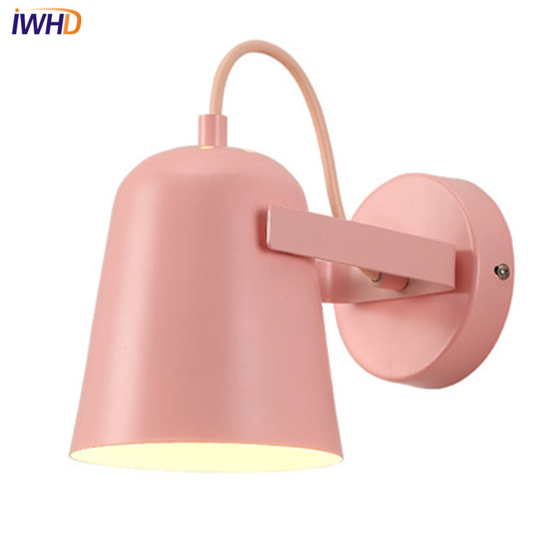 IWHD Simple Modern LED Wall Sconce lampshade Adjust Iron Wall Light Fixtures For Bedroom Bedside Wall Lamp Indoor Lighting