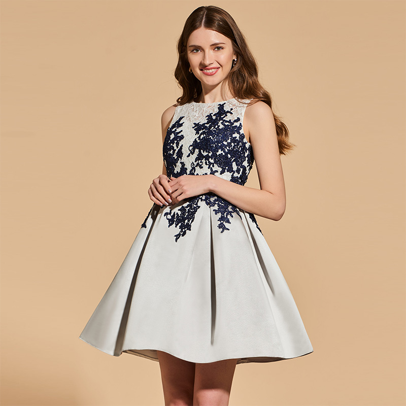 Tanpell Lace Cocktail Dresses Lady Appliques Scoop Neck Above Knee A Line Dress Women Homecoming Customed Short Cocktail Dress