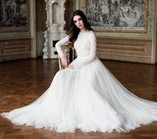 High Quality Lace With Chiffon Princess Wedding Dresses Long Sleeve O-neck A-line Vestido De Noiva NM 451