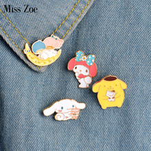 Miss Zoe 4pcs/set Cartoon Girl Boy Moon Dog Rabbit Rosette Brooches Button Pins Denim Jacket Pin Badge Jewelry Gift for Girls(China)