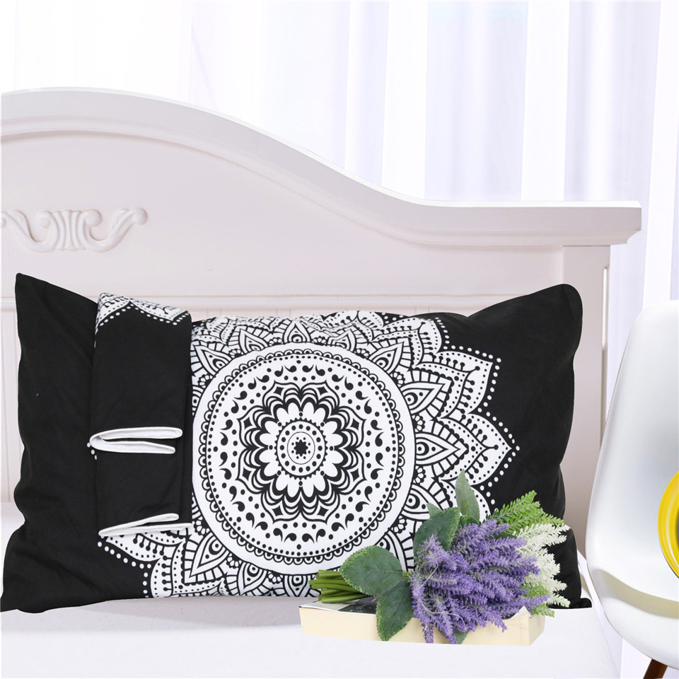 Image 2 - CAMMITEVER Black White Lotus Bedding Set King Printed Duvet Cover Home Textiles Microfiber Bedclothes 3 Piece-in Bedding Sets from Home & Garden