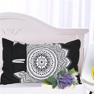 Image 2 - CAMMITEVER Schwarz Weiß Lotus Bettwäsche Set König Druckte Duvet Abdeckung Hause Textilien Mikrofaser Bettwäsche 3 Stück