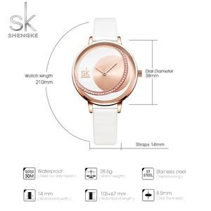 Image 5 - Shengke 시계 여성 럭셔리 크리스탈 시계 Reloj Mujer 가죽 밴드 다이아몬드 숙녀 쿼츠 시계 여성 시계 Montre Femme