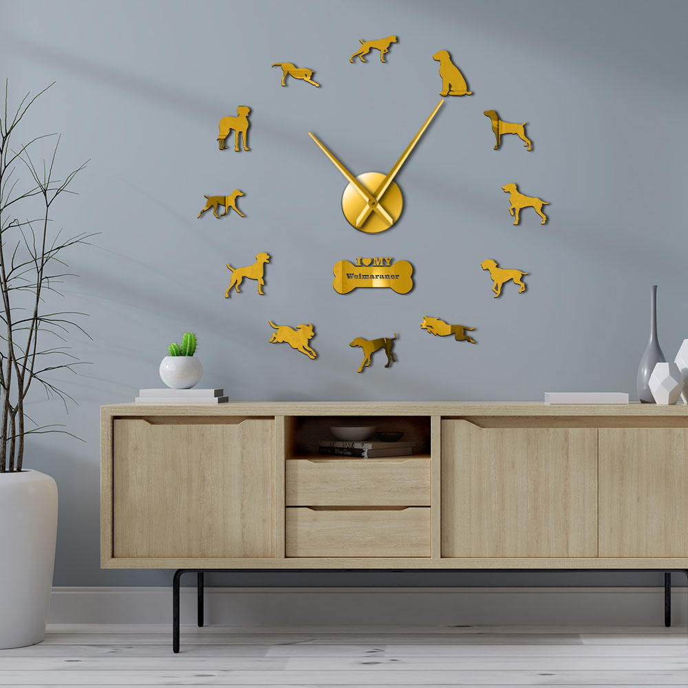 Modern Weimaraner Dog Breed 3D Acrylic DIY Wall Clock Doggie Canine Portrait Self Adhesive Wall Stickers Clock For Dog Lovers