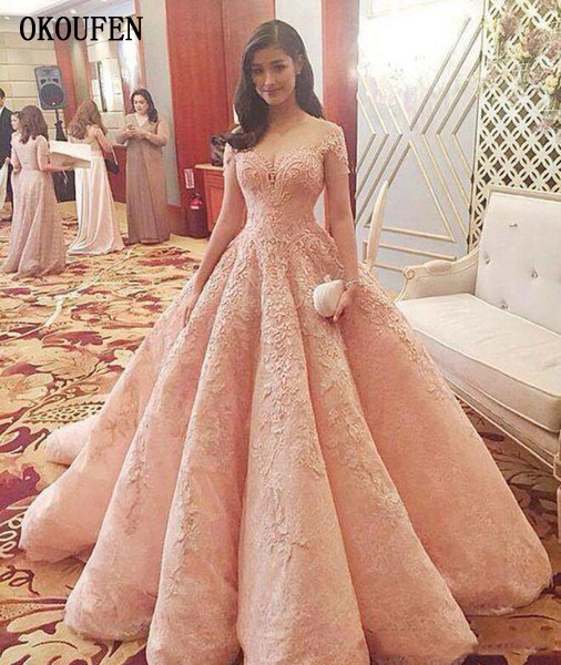 Luxury Pink Prom Dresses Vestidos De Fiesta Off The Shoulder Short Sleeve Lace Appliques Beaded A-line Modern Quinceanera Dresses 副本