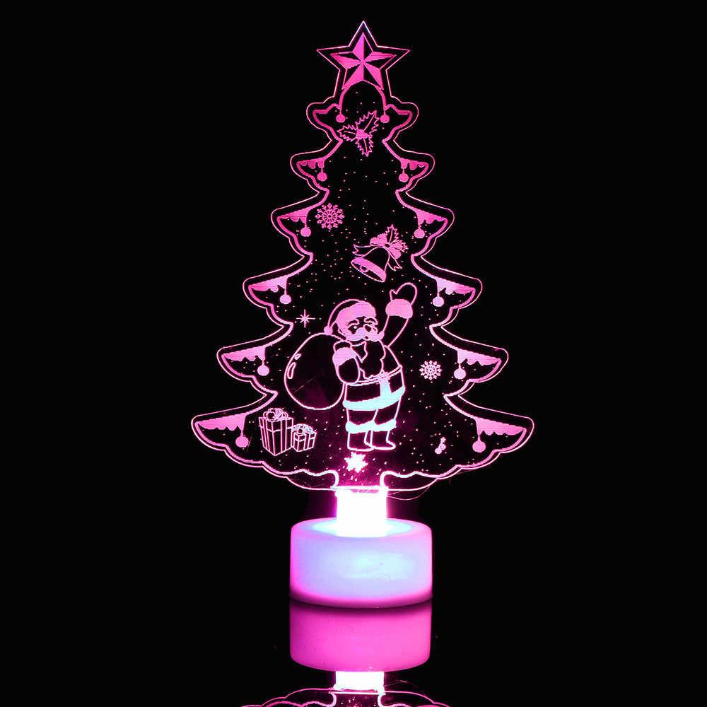 حار اللون تغيير عيد ميلاد سعيد الإنارات ثلج متعدد مصباح ليد ملون واضح الاكريليك شجرة عيد الميلاد المزاج مصباح الليل
