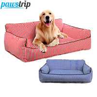 pawstrip Striped Dog Sofa Beds Detachable Wash Puppy Bed Cushion Durable Canvas Pet Dog Cat Bed House S/M