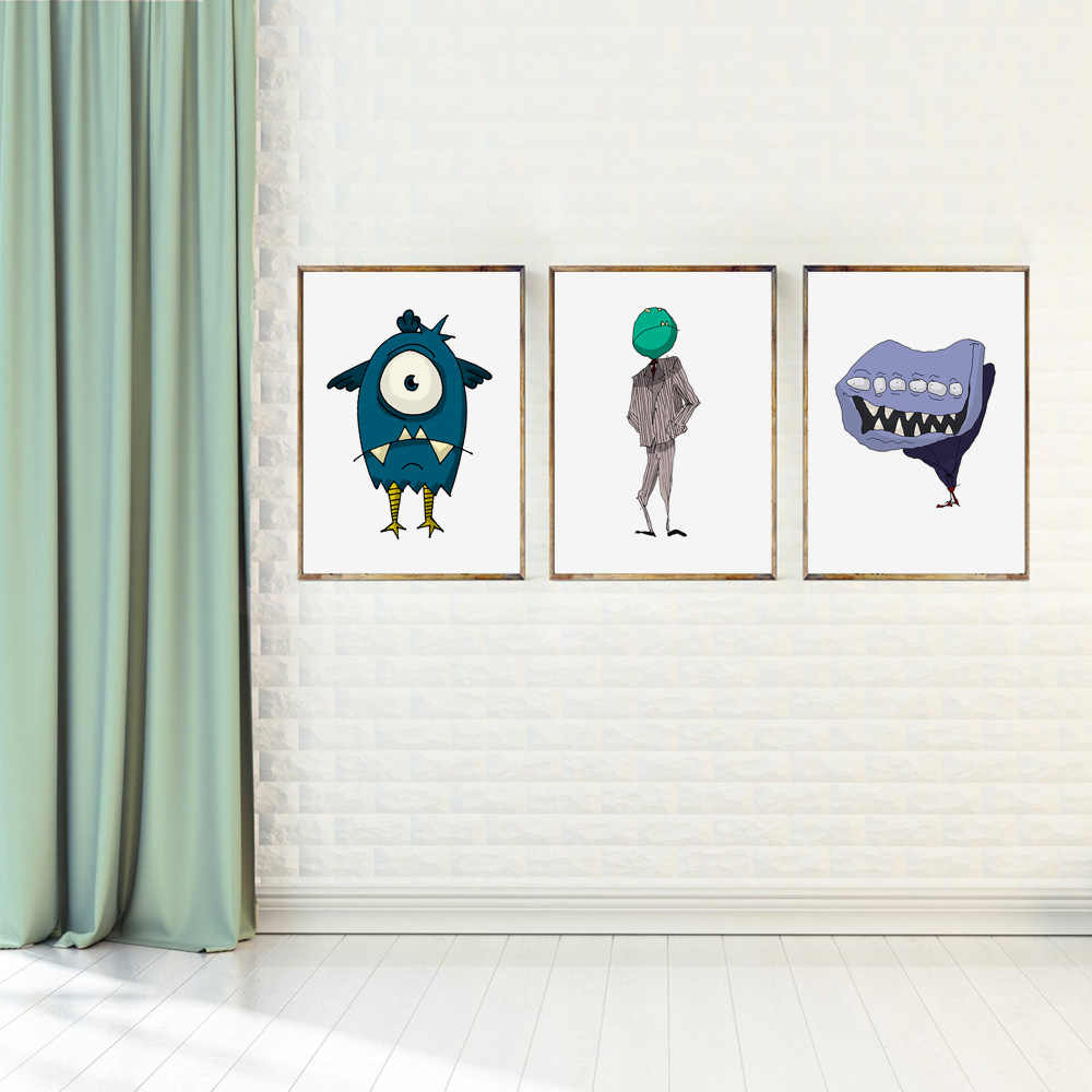 Мультфильм Большой Глаз пасть чудовища Детские плакаты на скандинавскую тему и репродукции, настенное искусство холст живопись настенные картины детская комната Домашний декор