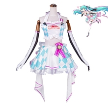 New Anime Vocaloid Hatsune Miku Cosplay Costume Miku Racing Dress+Earphone Outfit Carnival/Halloween Costumes for Women XS-XL new 2019 vocaloid hatsune miku cosplay costume snow miku cosplay fancy dress full set carnival halloween costumes for women s xl
