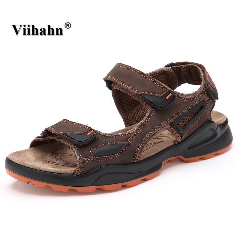 Viihahn Men Summer Sandals Casual Cool Non-slip Genuine Leather Outdoor Beach Shoes Men's Slippers Flats Gladiator for Man