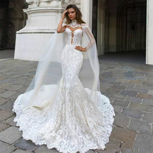 Eightree Customized Lace Mermaid Wedding Dresses Cathedral Train Sleeveless Illusion Sexy Backless Appliques Bride Dress