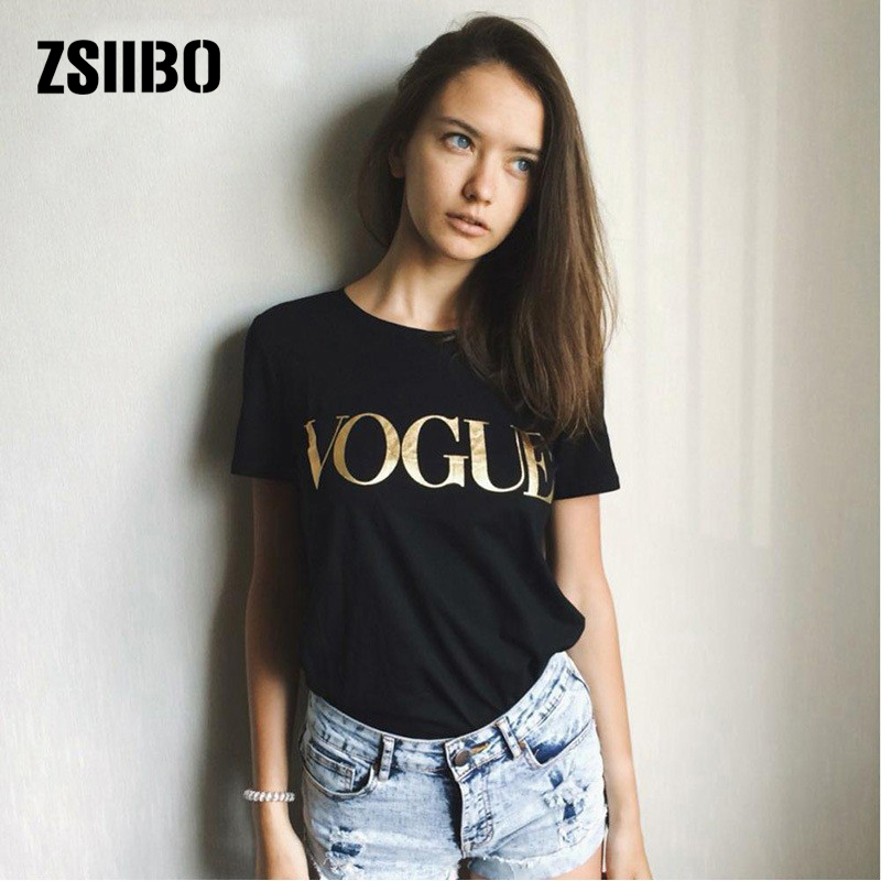 Women T shirt Korean style Brand VOGUE Women Tops Gold Shining Letter Printing Top Tee Casual Short Sleeve O Neck Woman Clothing