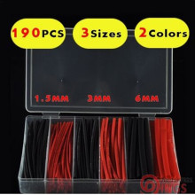 3 Sizes 190pcs  (red /black ) Assortment Polyolefin H-type Heat Shrink Sleeve Wrap Wire Cable Kit