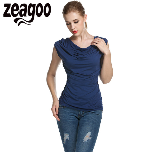 Zeagoo Women Casual T-shirt Cowl Neck Sleeveless Ruched Slim Fit Tank Tops Summer Solid T shirt Fashion Ladies T-shirt