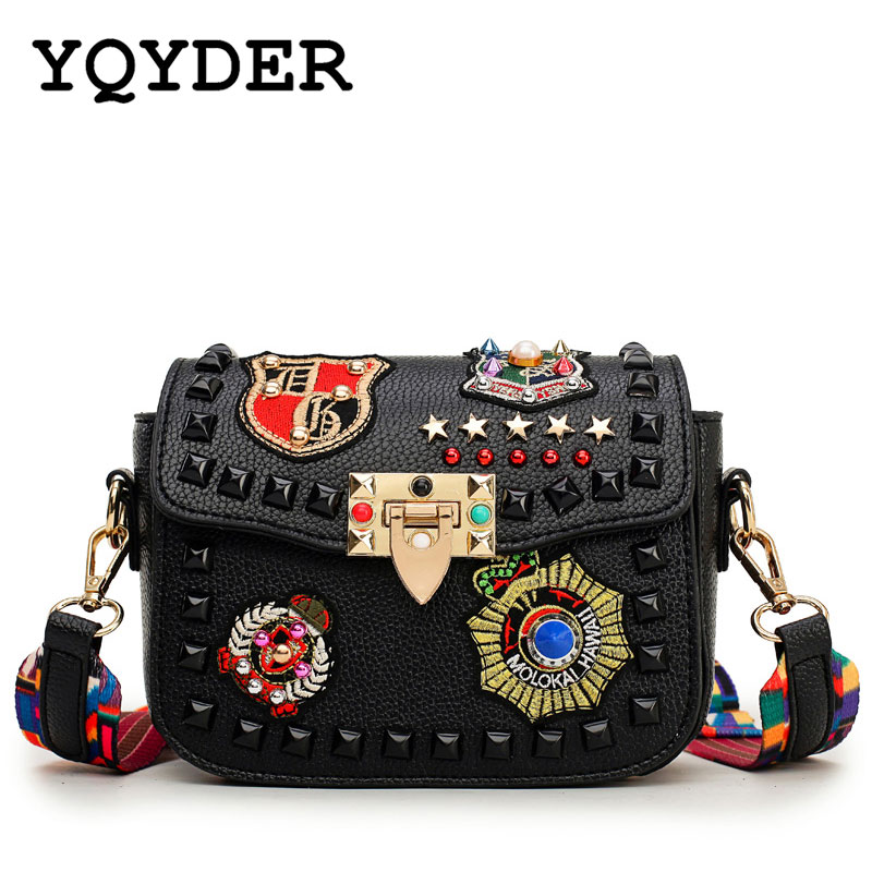 Fashion Color Rivet Design Women Pu Leather Bags Embroidery Metal Stars Shoulder Bags Ladies Color Shoulder Strap Crossbody Bags new high quality pu leather women crossbody bags fashion color rivet design women shoulder bags color shoulder strap ladies bag