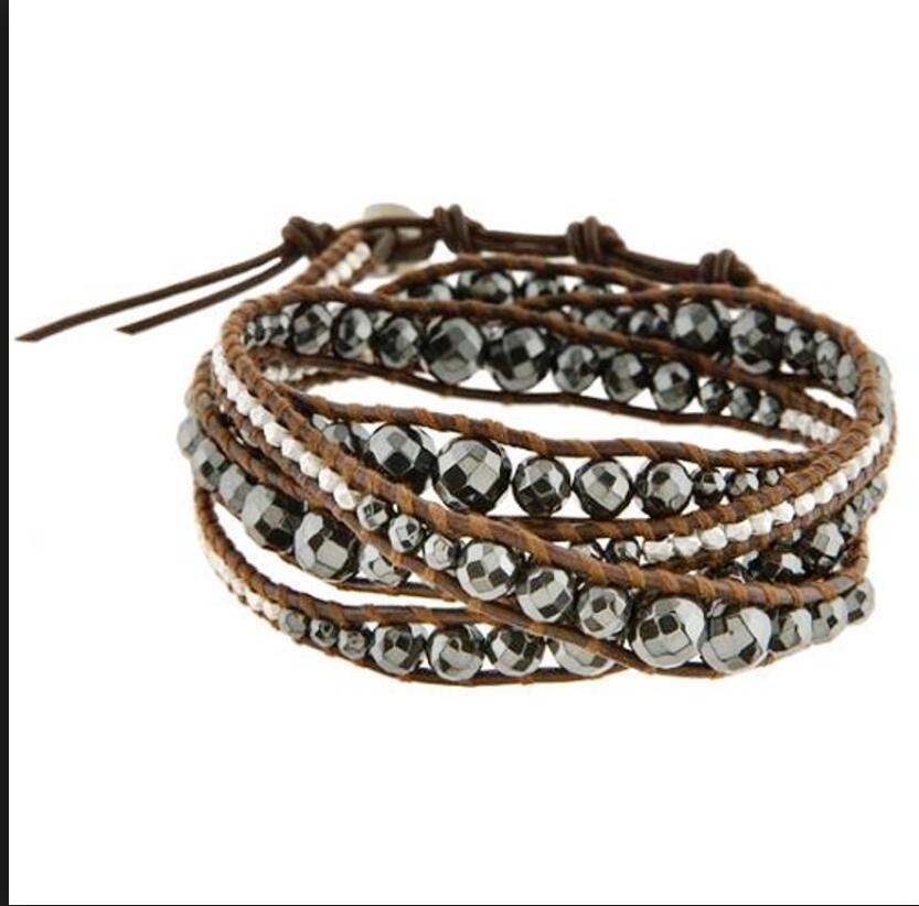 4mm 6mm 8mm facted hematite leather bracelet