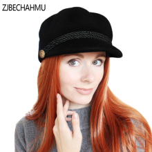 ZJBECHAHMU Fashion Solid Wool 100% Vintage Elegant Fedoras For Women Girl jazz hat Warm Snapback Hat Hip Hop Hats New