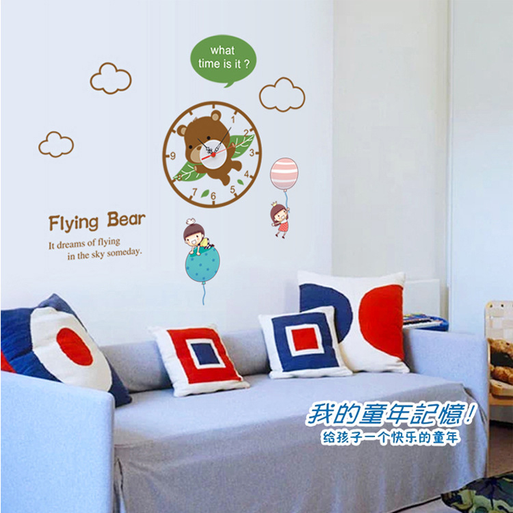 1 piece 70*70CM Creative Flying Bear Clocks Wall Stickers Kids Room Home Decoration 3d Clock - Colorful Life store