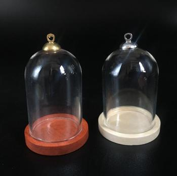 100sets/lot 38*25mm tube glass globe bottle wood base beads cap set glass vial cover dome glass bottle jar cute charms
