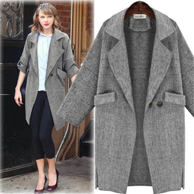 0676dba2413 Women Autumn Spring Long Trench Coat Grey Trench Coats Outerwear Loose Coat  Line Turn Down Collar