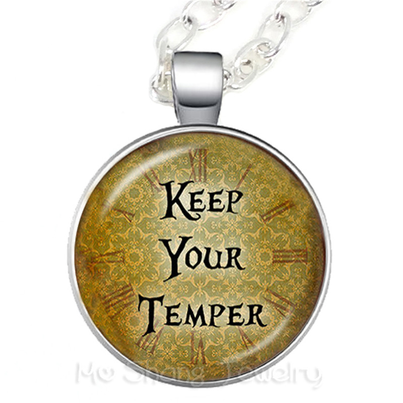 Keep Your Temper Glass Choker Necklace Gift For Student /Friends Motivating People Famous Aphorism image