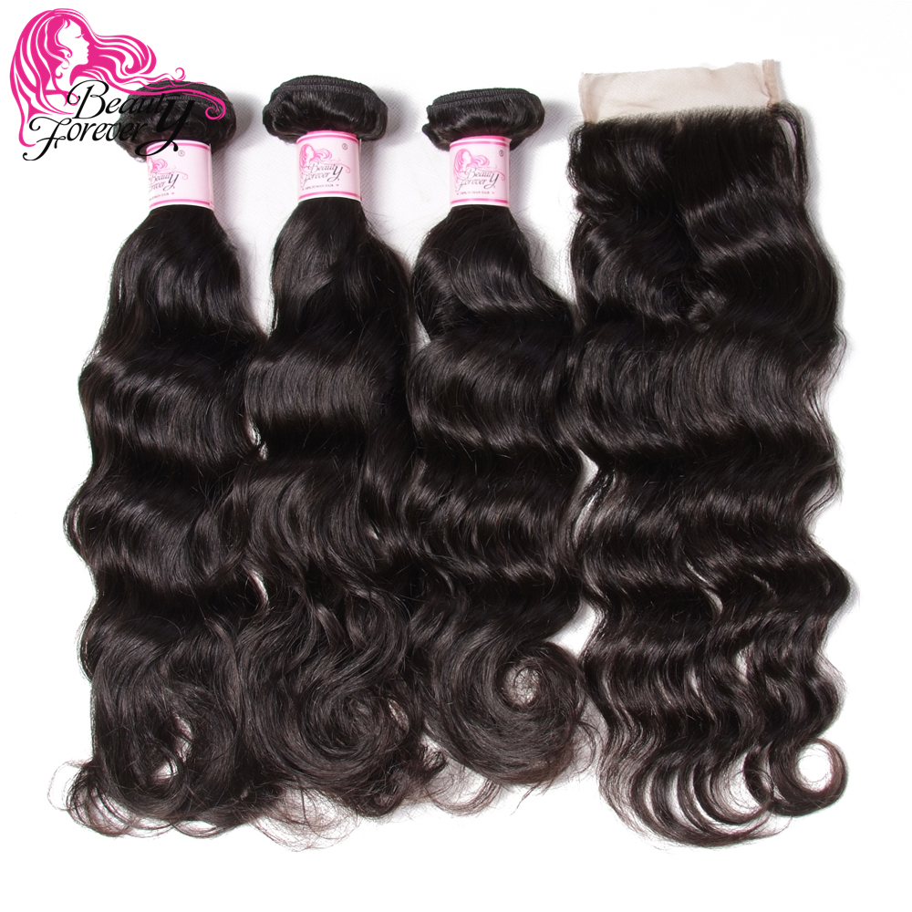 Beauty Forever Malaysian Natural Wave Human Hair Weaves Bundles With Lace Closure 4 4 Free Part