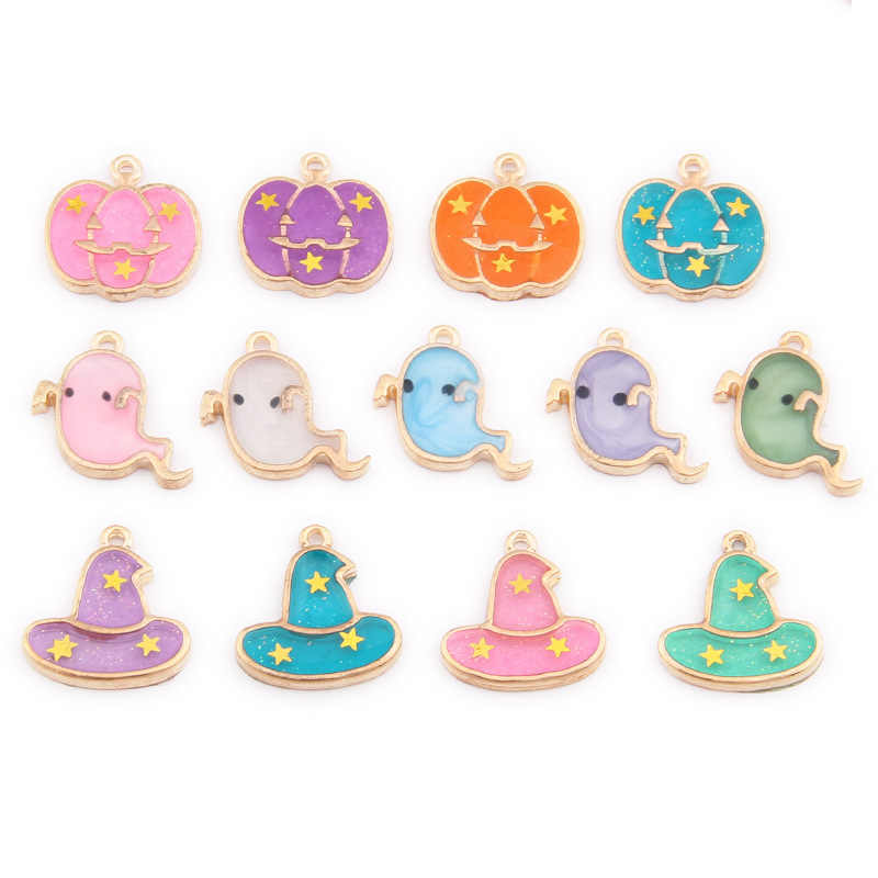 10pcs Enamel Magic Hat pumpkin ghost Wizard Cap charms Halloween holiday series DIY jewelry small pendant alloy festival gifts