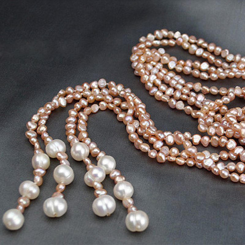 Fashion Long Multilayer Pearl Necklace Freshwater Pearl Baroque Pearl Women Accessories Statement