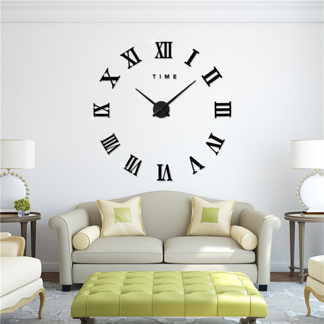 1pc Creative DIY 3D Acrylic Roman Numerals Wall Clock Stickers Fashion Watches Wall Sticker Livingroom Home Decoration 2084WS