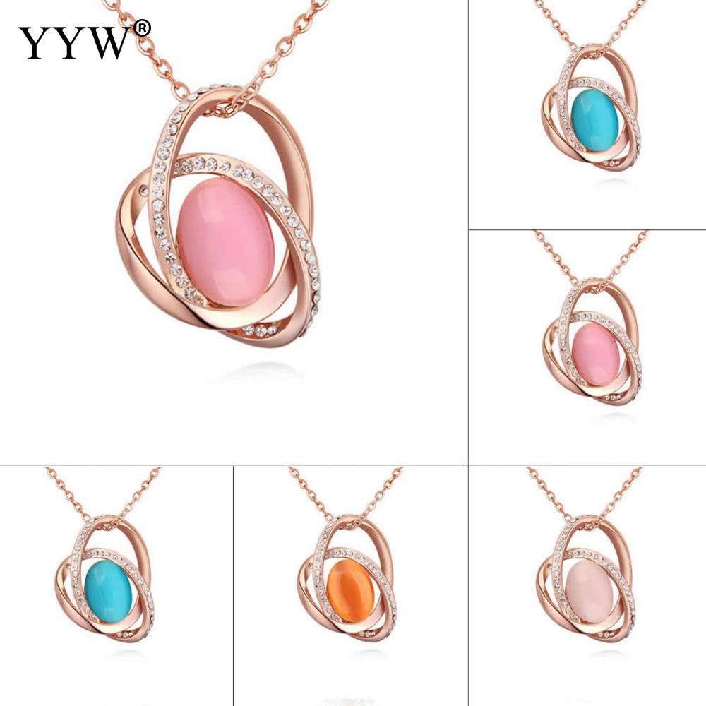 2018 Fashion Necklace Brass With Cats Eyes Round Intersecting Charming Chain Rose Gold color Oval Chain Woman With Rhinestone