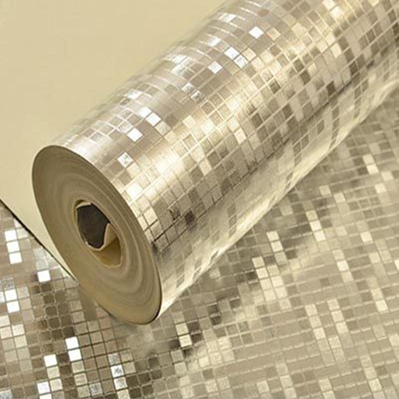 10m//roll Silver Mosaic Foil Wallpaper KTV Bar Reflective Ceiling Background Wall