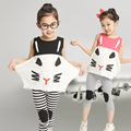 2015 new 3-8 years children's clothing Cat abstract pattern girls 1 sets 100% cotton summer girls clothing sets kids clothes