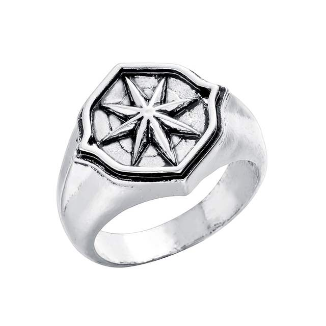 Qiamni Star Compass Amulet Finger Ring Vintage Hip Hop Party Nordic Slavic Pagan Ring Handmade Jewelry Gift Men Women Bague Anel