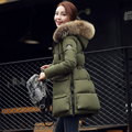 2016 Korean Winter New Slim  Thick Warm Big Fur Collar In The Long Section of Female Cotton for Women Jacket Down Coat Plus Size