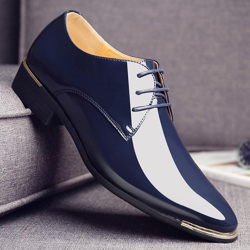 marron Dentelle Noir blanc Luxe 2a Hommes Plat Verni Mariage Marque Noir 2018 Cuir Chaussures Parti En D'affaires Nouveaux Robe bleu De Pointu Blanc up xBWqagfOw