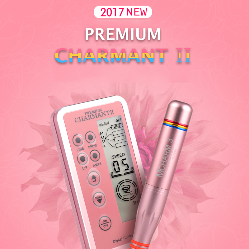 Charmant 2 Professional Permanent Makeup Tattoo Machine kit for Eyebrow Tattoo Lip Eyeliner Microblading MTS Pen with Cartridges 35000r import permanent makeup machine best tattoo makeup eyebrow lips machine pen
