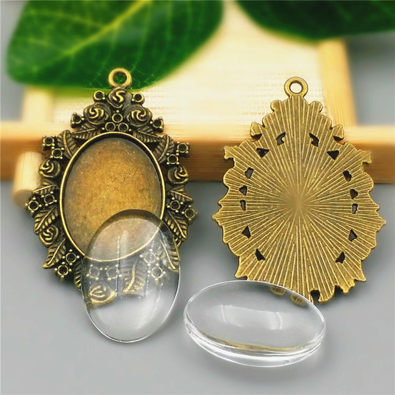 10Sets//Lot Alloy Oval Base Setting Pendant Clear Glass Cabochons DIY Jewelry