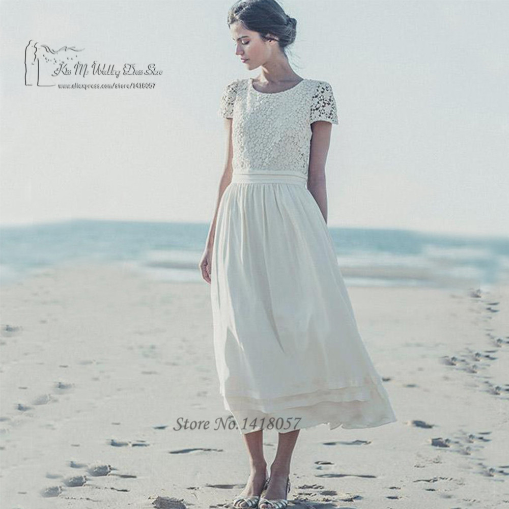 Vintage Lace Tea Length Beach Wedding Dress Short Sleeves: Summer Vintage Beach Wedding Dress Short Sleeve Lace
