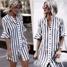 Women Vintage Half Sleeve Black White Striped Casual Flare Loose Long 2018 Summer Fashion Ladies Shirt