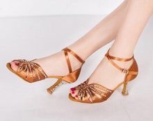 New Flesh Tan Satin Crystal Rhinestone Salsa Tango Ballroom Dance Shoes Latin Dance Shoes Dancing Shoes ALL Size