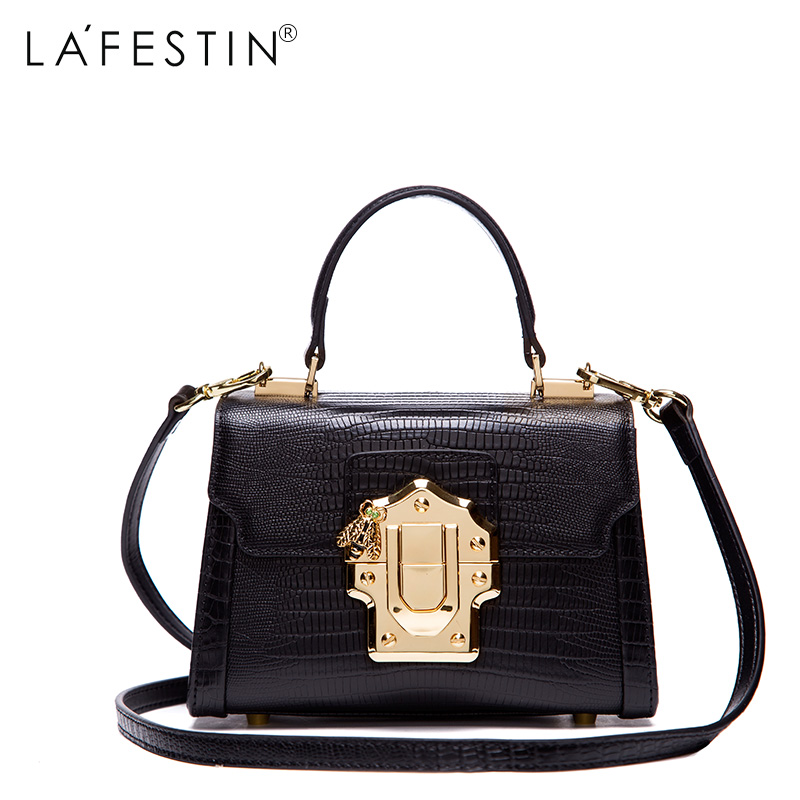 LAFESTIN Designer Serpentine Lock Handbag Real Leather Bag 2017 Fashion Women Bags Shoulder Luxury brands Bag bolsa lafestin luxury shoulder women handbag genuine leather bag 2017 fashion designer totes bags brands women bag bolsa female