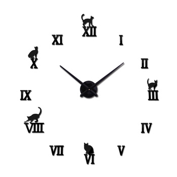 Hot design large decorative wall clocks brief design diy clocks digital watch quartz living room 3d cat wall stickers 1