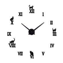 bdf9ad214de Hot design large decorative wall clocks brief design diy clocks digital  watch quartz living room 3d cat wall stickers